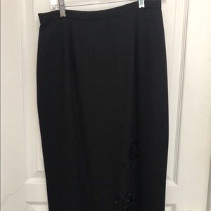Black Maxi skirt with floral beading on bottom